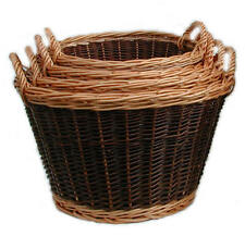 Traditional Hand Woven Strong Willow Wicker Round Log Basket