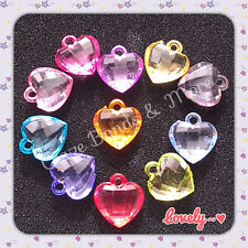 NEW Dazzling Heart Charms mixed Color fit Rainbow Loom rubber bands w/ jump ring