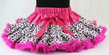 Leopard Pettiskirt Tutu w Rock Star Hot Pink Trim Pageant NWT 1-10/12 Yr