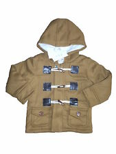 Brand New With Tags Boys Brown Hooded Fleece Duffle Coat ages 9M-4YRS (sku090)