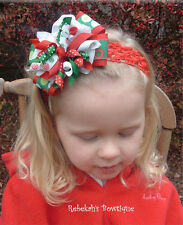 Christmas Red Green Funky Dots Hair Bow Headband Baby Infant Toddler Girls
