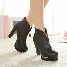 Women High Thick Heels Back Zip Closure Platforms Short Ankle Boots Winter Shoes