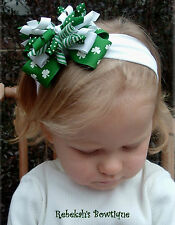 SAINT ST PATRICKS DAY GREEN White Hair Bow Headband Bowband OR Clip Shamrocks