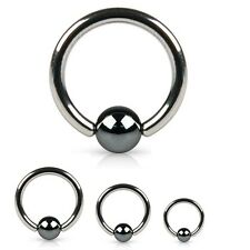 18G 16G 14G 12G 10G Surgical Steel Captive Bead Ring w/ ''HEMATITE PLATED BEAD""