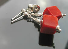 Long or Short Natural Beads Coral 8mm Cubes and 925 S Beads 925 Silver Earrings