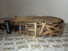 GUESS LADIES BELT Cheeta Gold buckle STUDS FAUX DIAMOND AUTHETIC GENUINE
