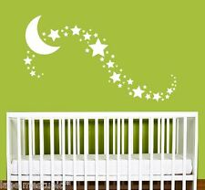 LARGE Solid Moon + 45 Star Wall Stickers Nursery Stars Art  *Any Colour*