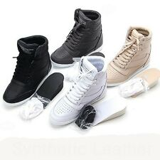 Wedge Heels Platform Sneakers Trainers High Top Ankles Boots Women's Shoes Lace