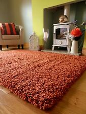 SMALL X LARGE RUST ORANGE THICK HEAVY SOFT QUALITY SHAGGY PILE RUG CARPET MAT