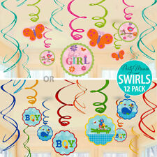 BOY OR GIRL UNISEX BABY SHOWER PARTY SUPPLIES SWIRL DECORATIONS ~ PACK OF 12