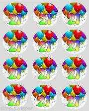 Cupcake Toppers 24 Balloon Birthday Age 16th - 100th Ages Rice Paper 40mm Cake