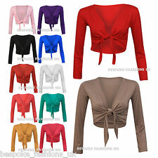 Women's Plus Size Long Sleeve Tie Front Ladies Bolero Shrug Cardigan Top 16-22