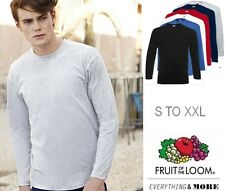 Mens Fruit of the Loom Long Sleeve Cotton T-Shirt 6 Col Work Casual Sport S-XXL