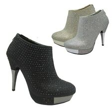 New Womens Ankle Pumps Stiletto Platform High Heel Zipper Rhinestone Shoes Sizes