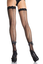 Sexy Fishnet Backseam Thigh High with Satin Bow. Sexy Thigh High Stockings. O/S