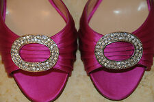 $755 New MANOLO BLAHNIK SEDARABY 90 Pink Satin Silver Jeweled SHOES 36.5 40 42