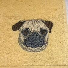 Pug Dog Embroidered Towels, Personalise, dog Gift, embroidery