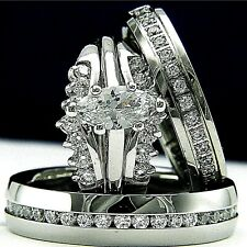 14k White Gold Plated 0.9ct CZ Engagement Wedding Bridal Woman's & Mans Ring Set