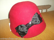 CLAIRE'S ACCESSORIES WOOL CLOCHE HAT SEQUIN BOW RED OR BLACK BNWT CELEBRITY FAV