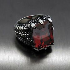 Mens Silver Dragon Ruby Red Cubic Zirconia 316L Stainless Steel Biker Ring