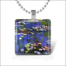 """""""WATER LILIES"""" CLAUDE MONET WATER LILY PAINTING GLASS PENDANT NECKLACE KEYRING"""
