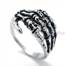 Men's Punk Gothic Rocker Biker Silver Stainless Steel Hand Skeleton Skull Ring