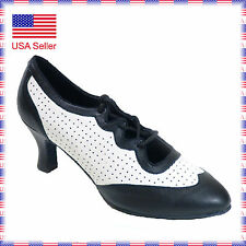 "682301 2.2""Heel Very Fine Quality Leather Latin Salsa Swing Dance Shoes sz5-10"