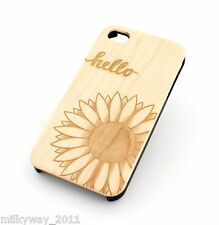 W88 REAL WOOD CASE COVER FOR IPHONE 5 5S HELLO SUNSHINE sunflower sky love quote