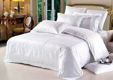 1000TC (SOLID/STRIPE) WHITE 100%EGYPTIAN COTTON UK COMPLETE BEDDING COLLECTION