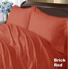 1000TC (SOLID/STRIPE) BRICK RED 100%EGYPTIAN COTTON COMPLETE BEDDING COLLECTION0