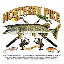 NORTHERN PIKE AND RODS FISHING T-SHIRT SHORT  SLEEVE W/PK MUSKIE WALLEYE CRAPPIE