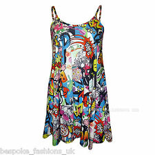 H6C NEW WOMENS COMIC BANG PRINT LADIES CAMI SLEEVELESS SWING DRESS TOP SM ML