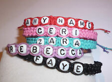 HANDMADE FRIENDSHIP BRACELET WITH ANY NAME, IDEAL FOR PARTY BAGS,BAND NAMES ETC