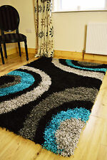 MEDIUM X LARGE TEAL TURQUOISE BLACK SILVER THICK SOFT HEAVY SHAGGY AREA HALL RUG