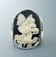 Large Sterling Silver Acrylic Fairy Cameo Wire Wrapped Ring