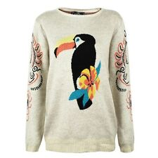 Women's Cartoon Parrot Jungle Print Pullover Sweater Abstract Jacquard Sleeves
