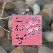 """LIVE LOVE LAUGH"" INSPIRATIONAL POSITIVE THOUGHT GLASS PENDANT NECKLACE KEYRING"