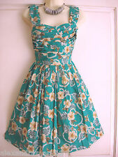 Atmosphere Lovely Green Sun Dress Hibiscus Flower Pattern Size 6 8