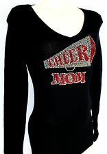RHINESTONE CHEER MOM SHEER JUNIOR V NECK SHIRT NEW TOP M L XL 1XL 2XL 3XL