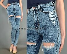 NEW ACID WASH HIGH WAIST RIPPED DESTROYED SKINNY LEG BLUE DENIM PANTS JEANS