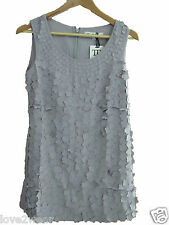 NEW Ladies Grey 3-D Floral Beaded Pattern Long Top Mini Dress Women's Sizes 8-14