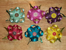 NEW! Handmade BOUTIQUE Girls or Toddlers HAIRBOWS Hair Bows FLOWERS WITH BUTTONS