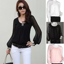Top Selling White Chiffon Lantern Sleeve Shirt Tops T-shirt Summer Blouse Women