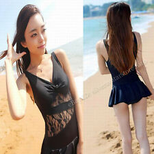 Hot Sexy Black Womens Slim New Lace Deep V Swimdress Backless One piece swimsuit