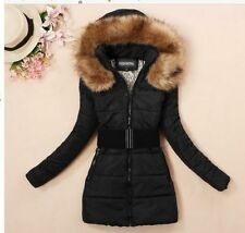 Women's padded winter warm fur collar jackets coat jacket S-XXL