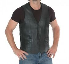 Veste Gilet Biker Cuir Uni Leather vest moto custom Choppers trike lacets