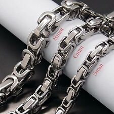 MEN 5MM 6MM 8MM Silver Tone Stainless Steel Byzantine Box Chain Necklace New