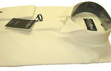 TAILORED Slimmer Fit Ivory COTTON RICH Wing Collar Dress Shirt Wedding 14.5-17""
