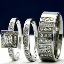 His Hers 3pcs Stainless Steel Womens Engagement & Mens Wedding Bridal Rings Set