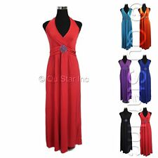 WOMEN SEXY FASHION SUMMER BOHO HALTER V-NECK LONG MAXI EVENING PARTY BEACH DRESS